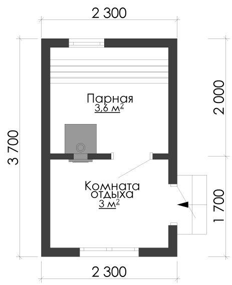 одноэтажный дом из сухого бруса площадью до 100 кв. м., проект 2.3 х 3.7 фотография 5380