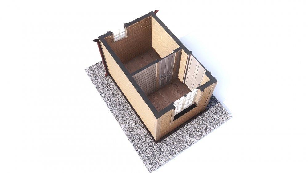 одноэтажный дом из сухого бруса площадью до 100 кв. м., проект 2.3 х 3.7 фотография 5381