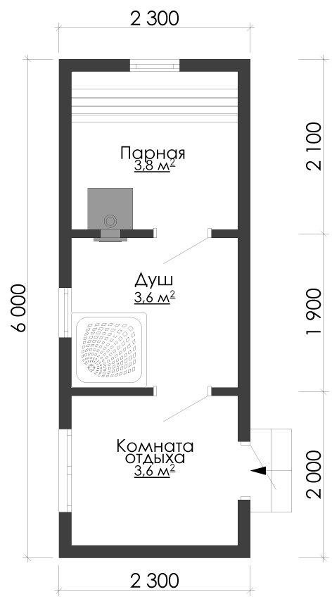 одноэтажный дом из сухого бруса площадью до 100 кв. м., проект 2.3 х 6 фотография 5385
