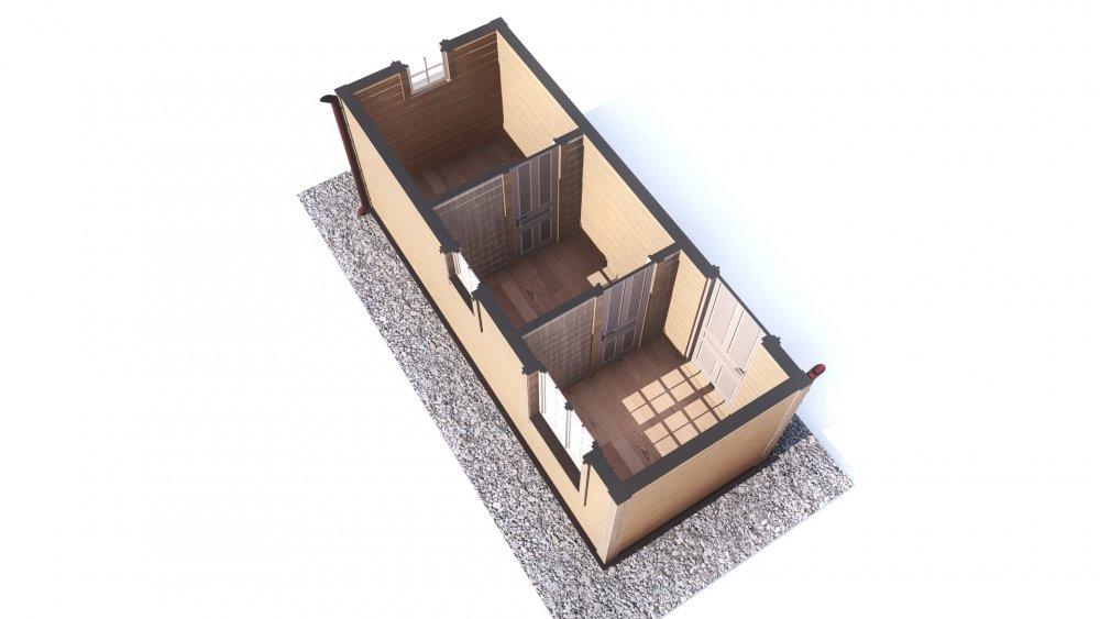 одноэтажный дом из сухого бруса площадью до 100 кв. м., проект 2.3 х 6 фотография 5386