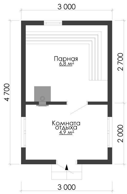 одноэтажный дом из сухого бруса площадью до 100 кв. м., проект 3 х 4.7 фотография 5390