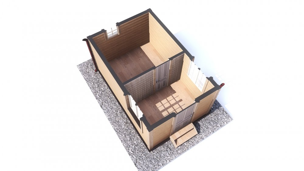 одноэтажный дом из сухого бруса площадью до 100 кв. м., проект 3 х 4.7 фотография 5391