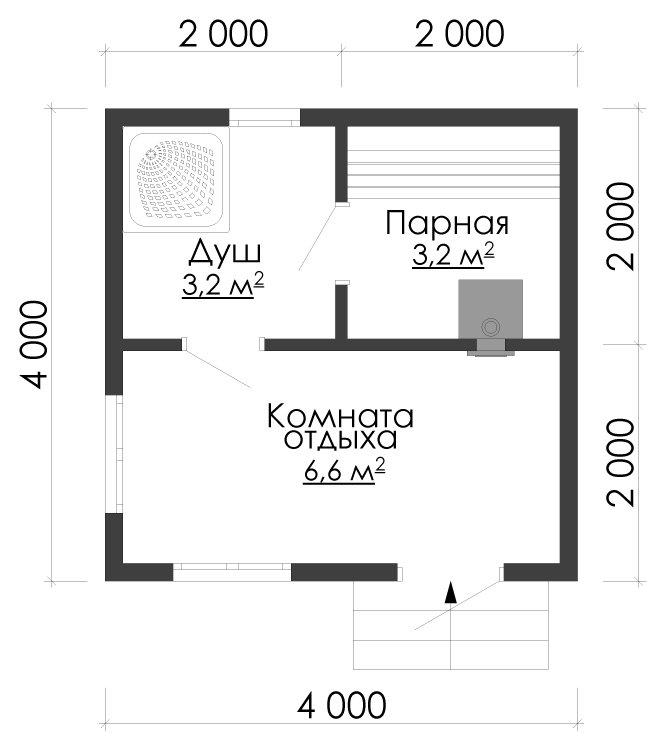 одноэтажный дом из сухого бруса площадью до 100 кв. м., проект 4 х 4 фотография 5404