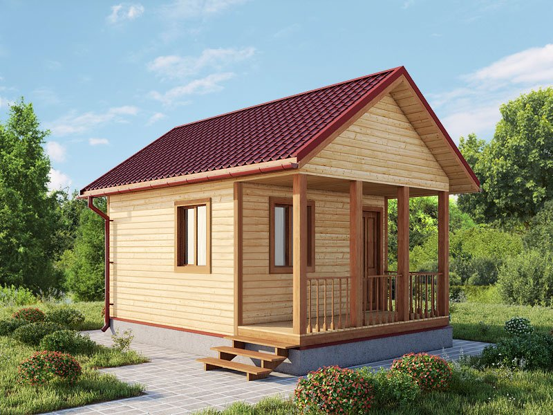 одноэтажный дом из сухого бруса площадью до 100 кв. м., проект 6 х 4 фотография 5413