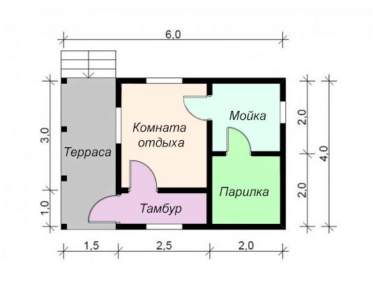 одноэтажный дом из сухого бруса площадью до 100 кв. м., проект 6 х 4 фотография 5414