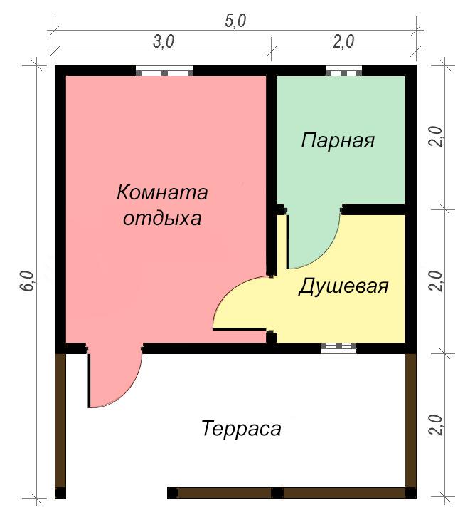 одноэтажный дом из сухого бруса площадью до 100 кв. м., проект 6 х 5 фотография 5399