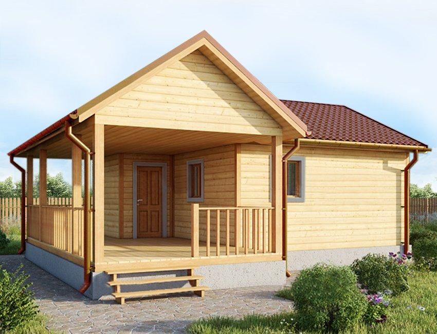 одноэтажный дом из сухого бруса площадью до 100 кв. м., проект 8 х 7 фотография 5392