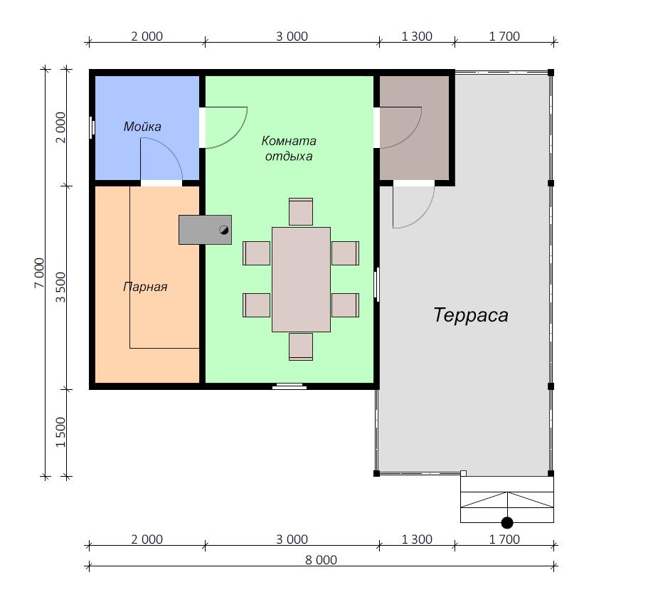 одноэтажный дом из сухого бруса площадью до 100 кв. м., проект 8 х 7 фотография 5393