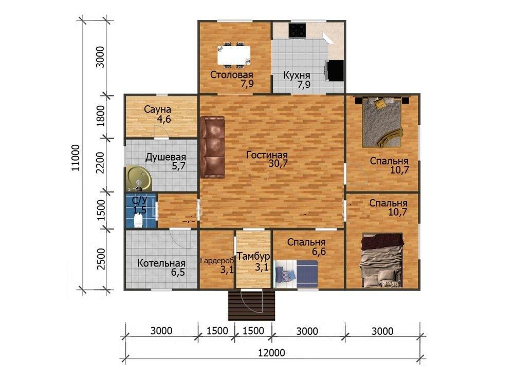одноэтажный дом из профилированного бруса площадью от 100 до 150 кв. м., проект Кингисепп-53 фотография 5345