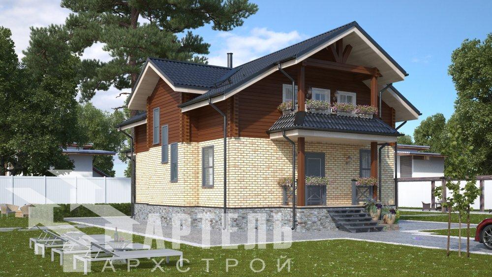 двухэтажный дом омбинированные дома площадью от 150 до 200 кв. м. с  террасой, проект Вариант 10.3Д Комбинированный фотография 5417