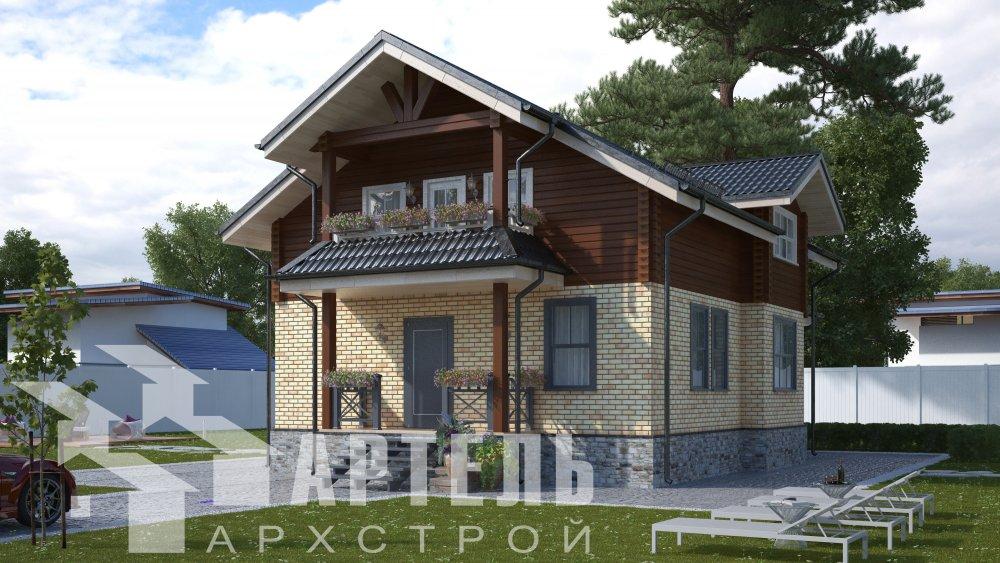 двухэтажный дом омбинированные дома площадью от 150 до 200 кв. м. с  террасой, проект Вариант 10.3Д Комбинированный фотография 5418