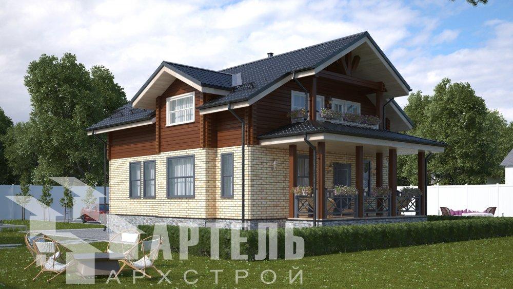 двухэтажный дом омбинированные дома площадью от 150 до 200 кв. м. с  террасой, проект Вариант 10.3Д Комбинированный фотография 5419