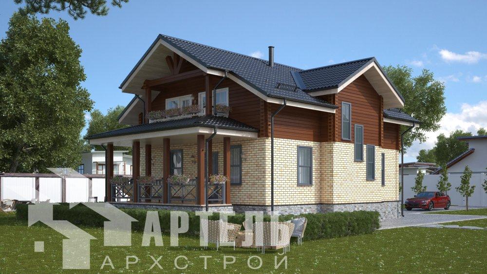 двухэтажный дом омбинированные дома площадью от 150 до 200 кв. м. с  террасой, проект Вариант 10.3Д Комбинированный фотография 5438