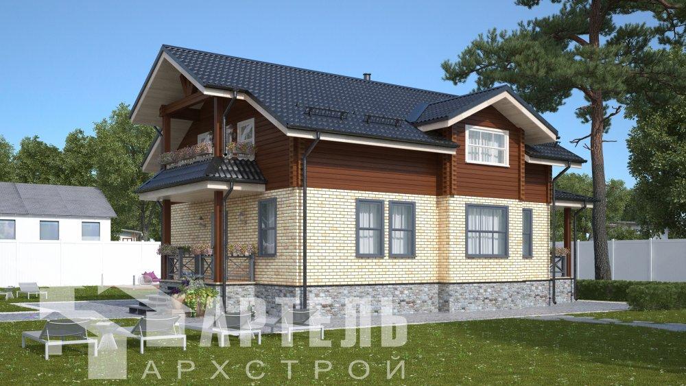 двухэтажный дом омбинированные дома площадью от 150 до 200 кв. м. с  террасой, проект Вариант 10.3Д Комбинированный фотография 5420