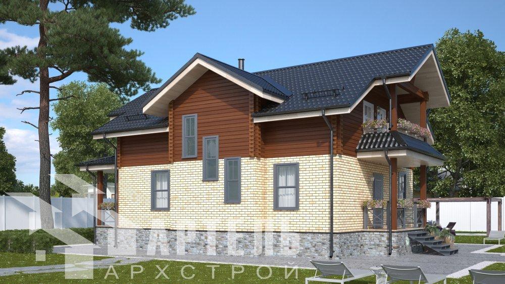 двухэтажный дом омбинированные дома площадью от 150 до 200 кв. м. с  террасой, проект Вариант 10.3Д Комбинированный фотография 5421