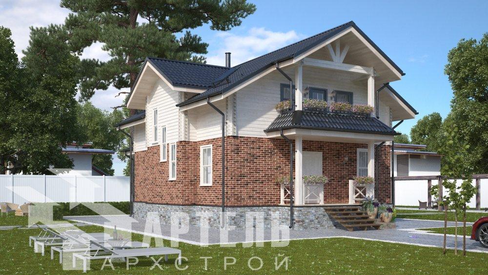 двухэтажный дом омбинированные дома площадью от 150 до 200 кв. м. с  террасой, проект Вариант 10.3Д Комбинированный фотография 5422