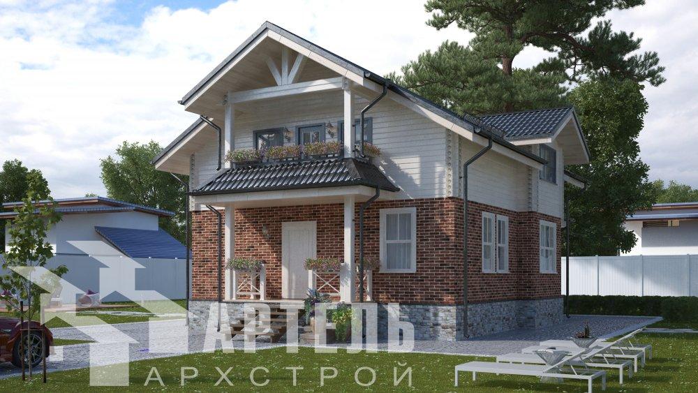 двухэтажный дом омбинированные дома площадью от 150 до 200 кв. м. с  террасой, проект Вариант 10.3Д Комбинированный фотография 5423