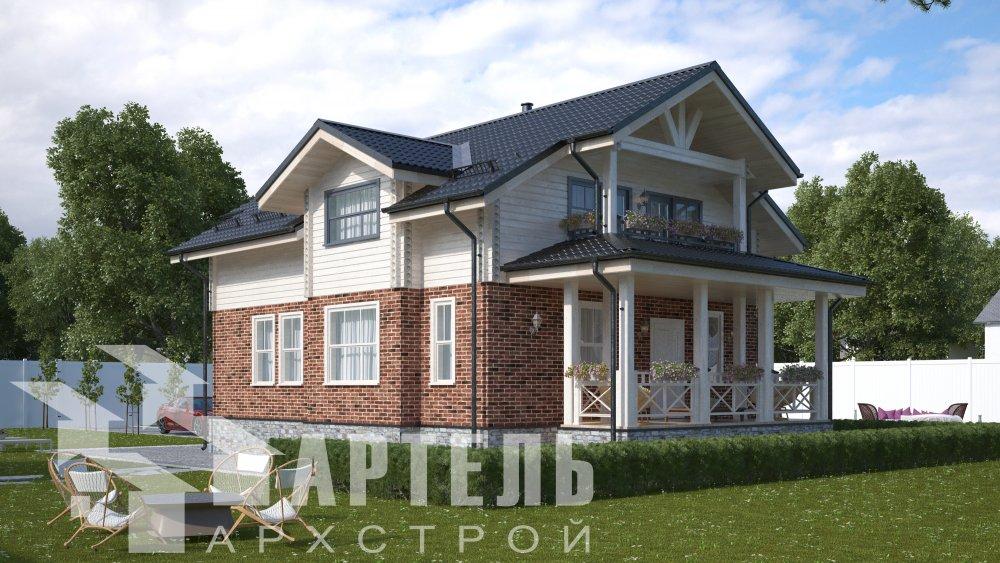 двухэтажный дом омбинированные дома площадью от 150 до 200 кв. м. с  террасой, проект Вариант 10.3Д Комбинированный фотография 5424