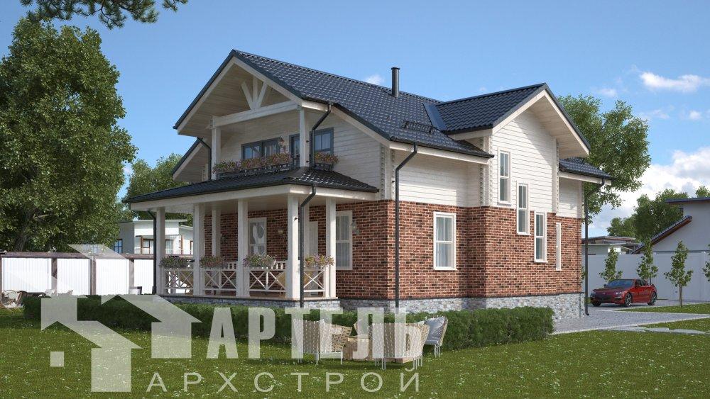 двухэтажный дом омбинированные дома площадью от 150 до 200 кв. м. с  террасой, проект Вариант 10.3Д Комбинированный фотография 5425