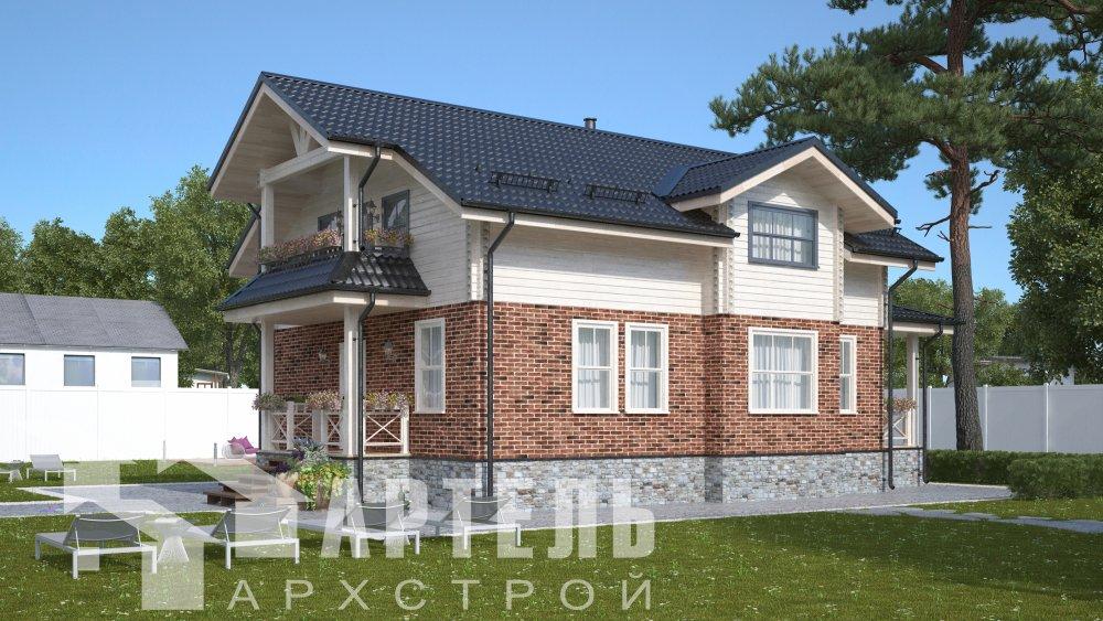 двухэтажный дом омбинированные дома площадью от 150 до 200 кв. м. с  террасой, проект Вариант 10.3Д Комбинированный фотография 5426