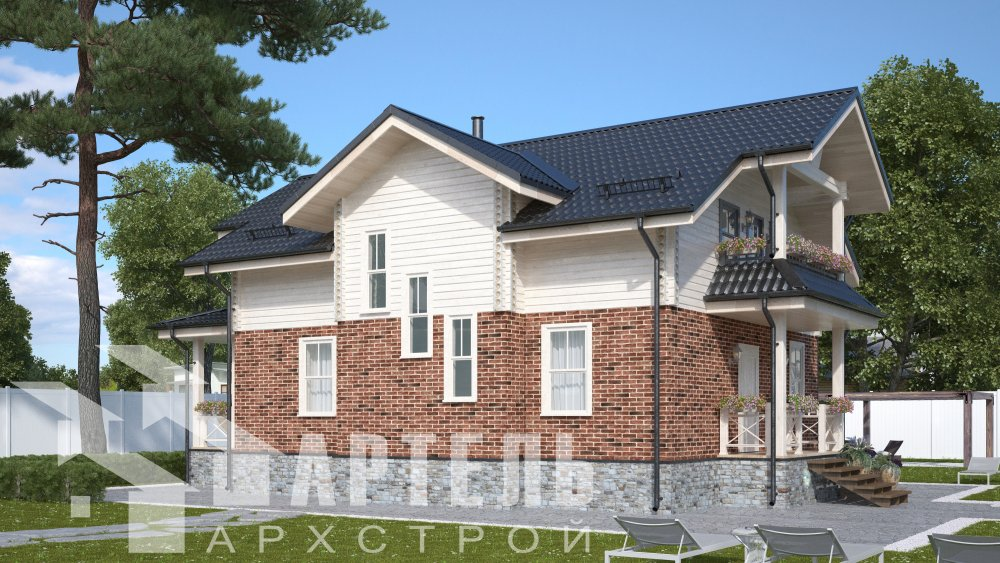 двухэтажный дом омбинированные дома площадью от 150 до 200 кв. м. с  террасой, проект Вариант 10.3Д Комбинированный фотография 5427