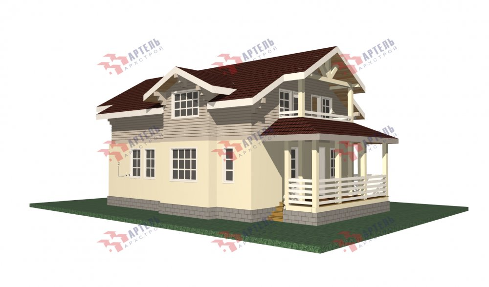 двухэтажный дом омбинированные дома площадью от 150 до 200 кв. м. с  террасой, проект Вариант 10.3Д Комбинированный фотография 5428