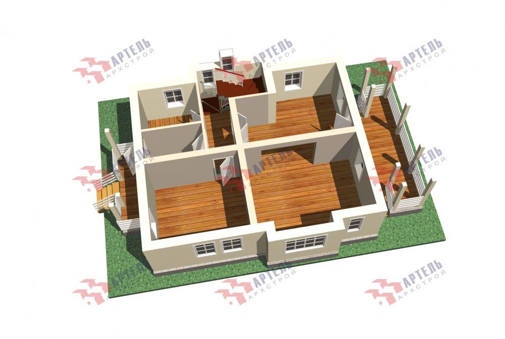 двухэтажный дом омбинированные дома площадью от 150 до 200 кв. м. с  террасой, проект Вариант 10.3Д Комбинированный фотография 5430