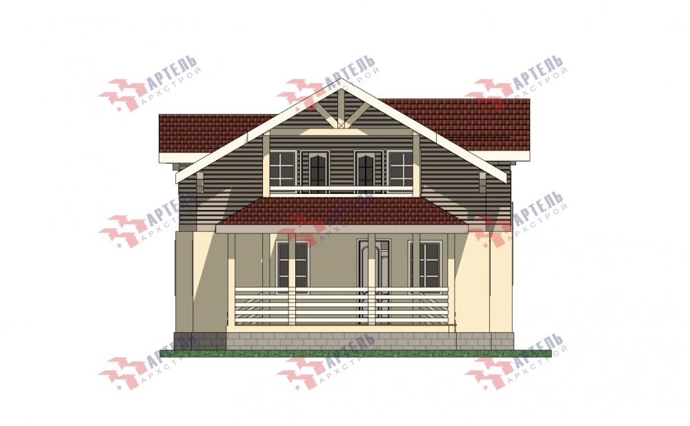 двухэтажный дом омбинированные дома площадью от 150 до 200 кв. м. с  террасой, проект Вариант 10.3Д Комбинированный фотография 5435