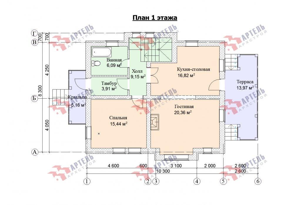 двухэтажный дом омбинированные дома площадью от 150 до 200 кв. м. с  террасой, проект Вариант 10.3Д Комбинированный фотография 5436