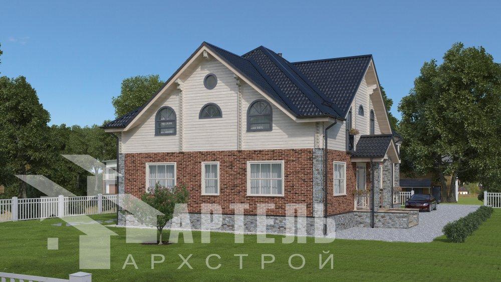 двухэтажный дом омбинированные дома площадью свыше 200 кв. м., проект Вариант 12.8М Комбинированный фотография 5293