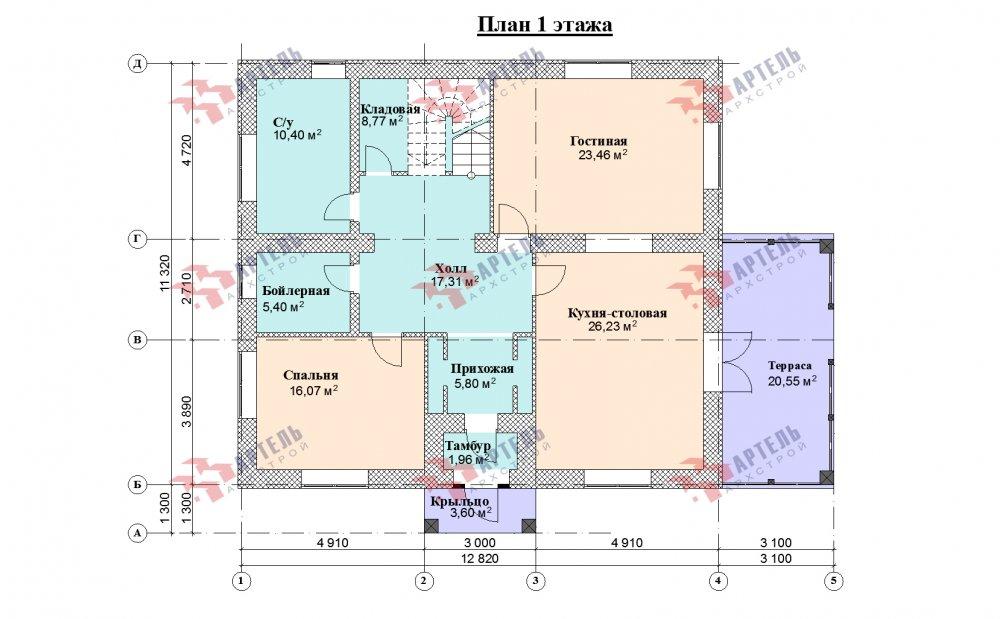 двухэтажный дом омбинированные дома площадью свыше 200 кв. м., проект Вариант 12.8М Комбинированный фотография 5304