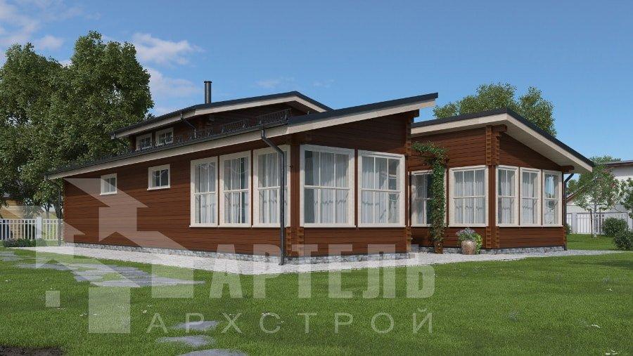 одноэтажный дом из профилированного бруса площадью свыше 200 кв. м., проект Вариант 12.4Л-Н фотография 5013