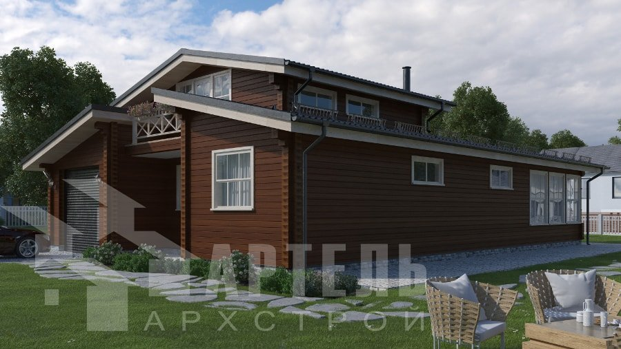 одноэтажный дом из профилированного бруса площадью свыше 200 кв. м., проект Вариант 12.4Л-Н фотография 5014