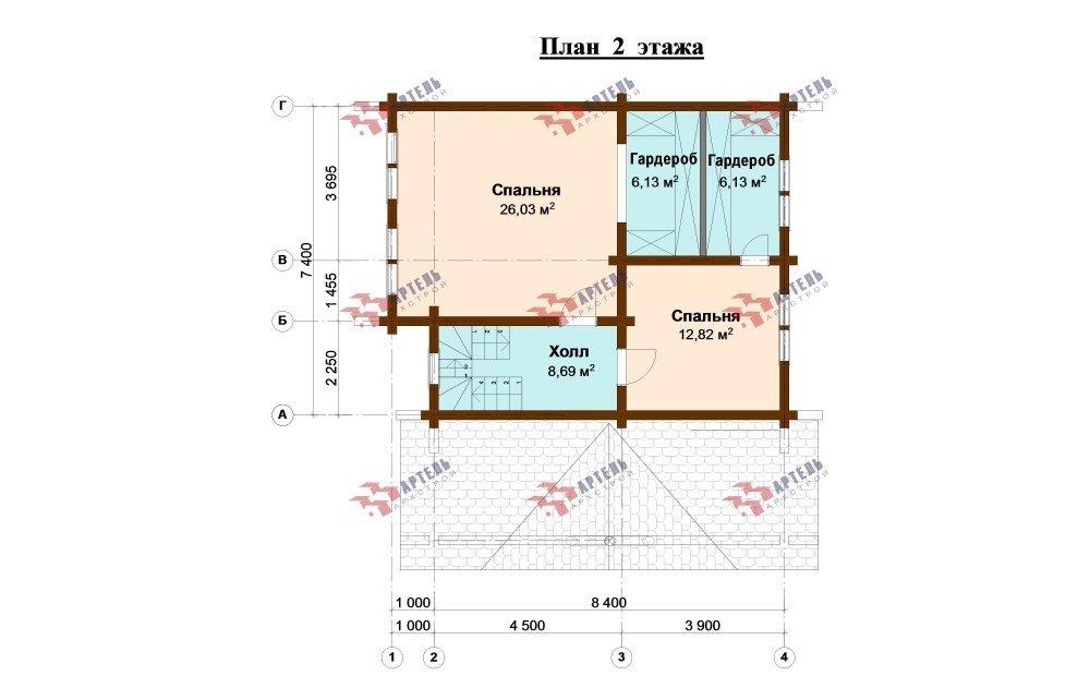двухэтажный дом из профилированного бруса площадью от 100 до 150 кв. м., проект Вариант 8,4Б фотография 5070
