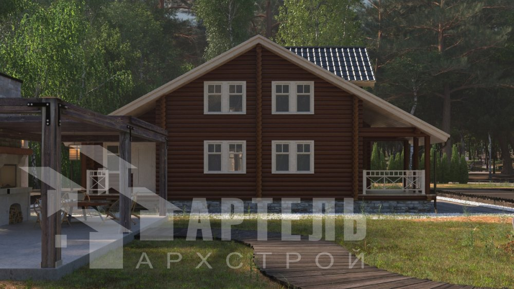 двухэтажный дом из профилированного бруса площадью от 150 до 200 кв. м., проект Вариант 9,1А фотография 5044