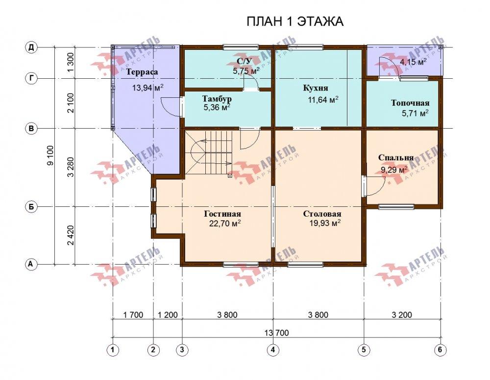 двухэтажный дом из профилированного бруса площадью от 150 до 200 кв. м., проект Вариант 9,1А фотография 5052