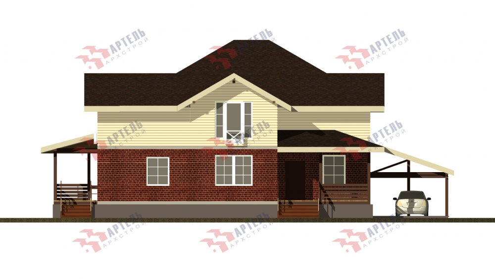 двухэтажный дом омбинированные дома площадью свыше 200 кв. м., проект Вариант 14К фотография 5255