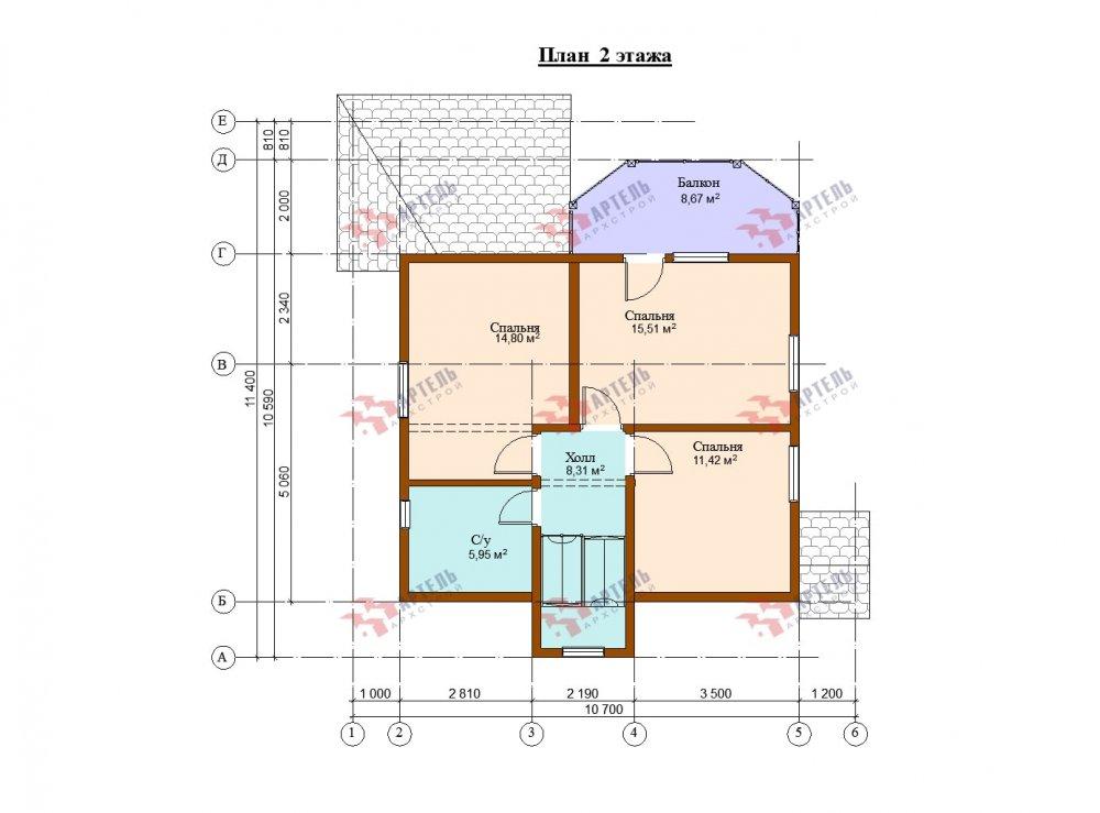 двухэтажный дом из бруса площадью от 100 до 150 кв. м. с  балконом, террасой, проект Вариант 10.7Л фотография 5091