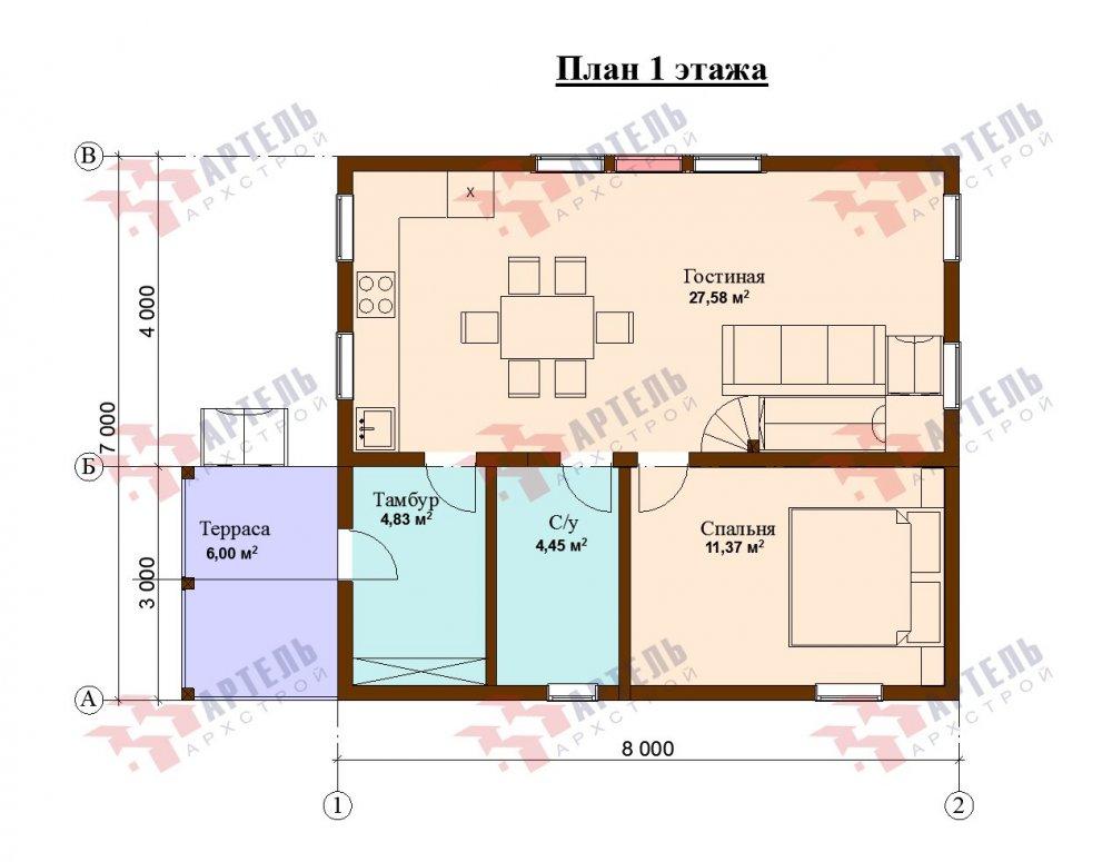 двухэтажный дом из бруса площадью от 100 до 150 кв. м. с  мансардой, проект Вариант 7М фотография 5111