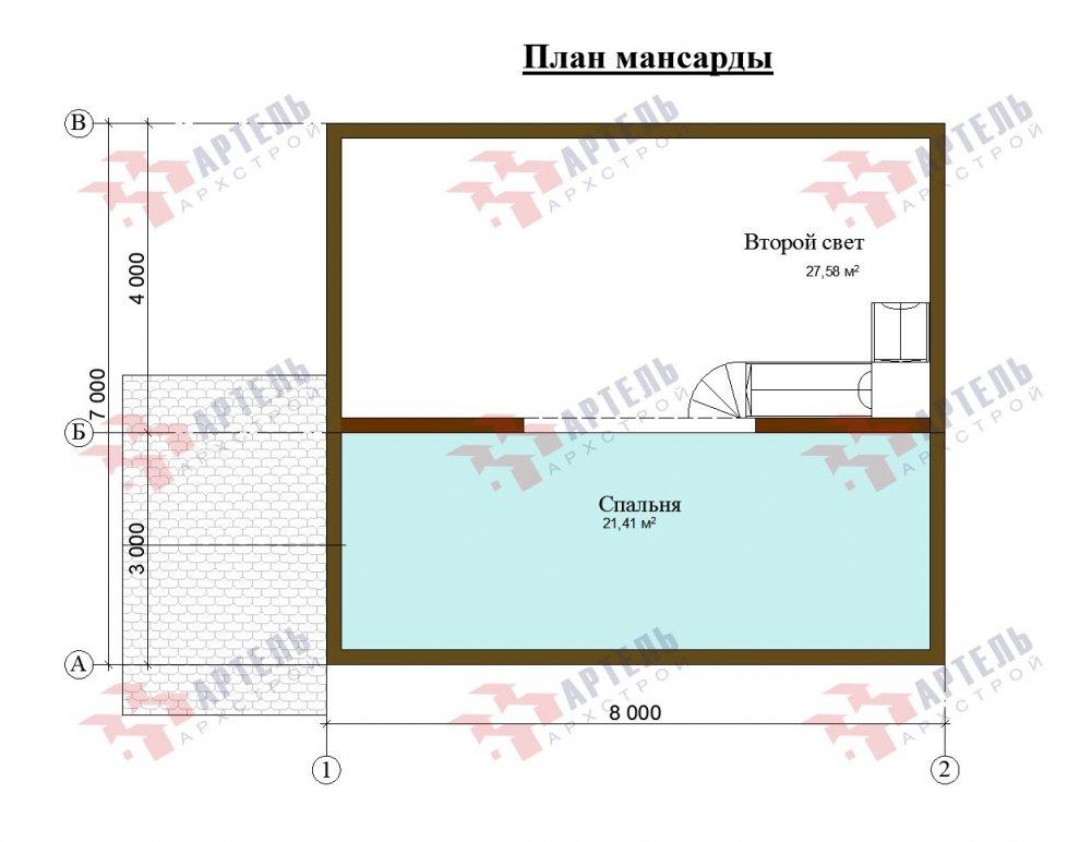 двухэтажный дом из бруса площадью от 100 до 150 кв. м. с  мансардой, проект Вариант 7М фотография 5112