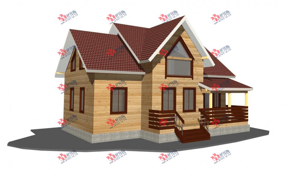 двухэтажный дом из профилированного бруса площадью от 150 до 200 кв. м. с  террасой, проект Вариант 10.5 В фотография 3505
