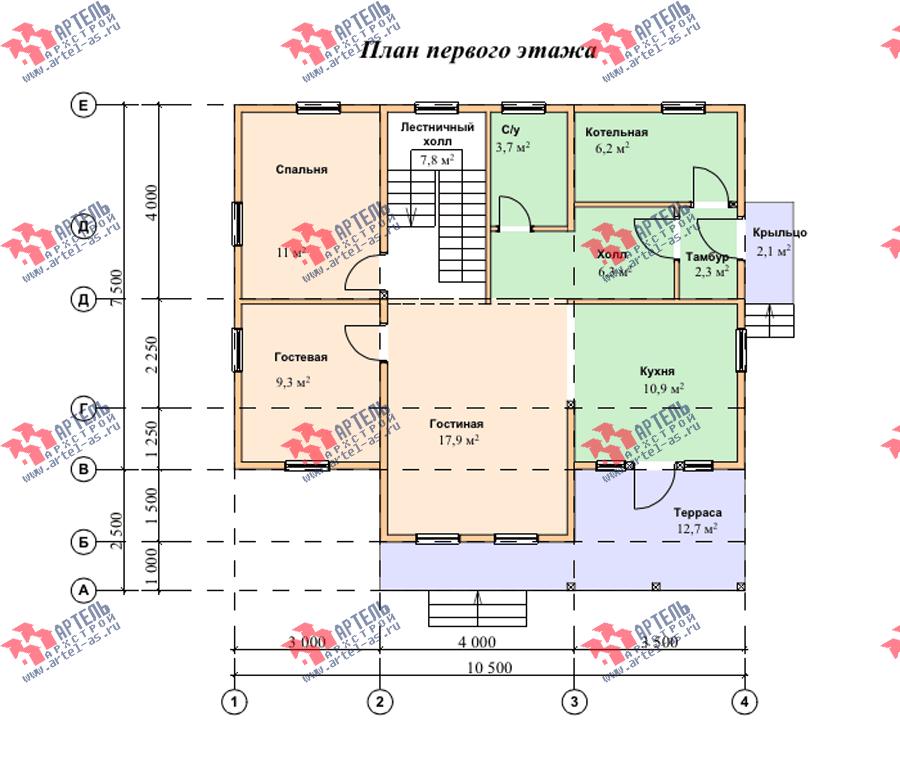 двухэтажный дом из профилированного бруса площадью от 150 до 200 кв. м. с  террасой, проект Вариант 10.5 В фотография 3512