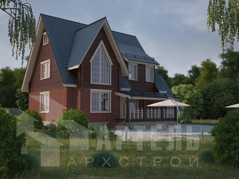 двухэтажный дом из профилированного бруса площадью свыше 200 кв. м. с  гаражом, мансардой, террасой, проект Вариант 10.2 А фотография 4368