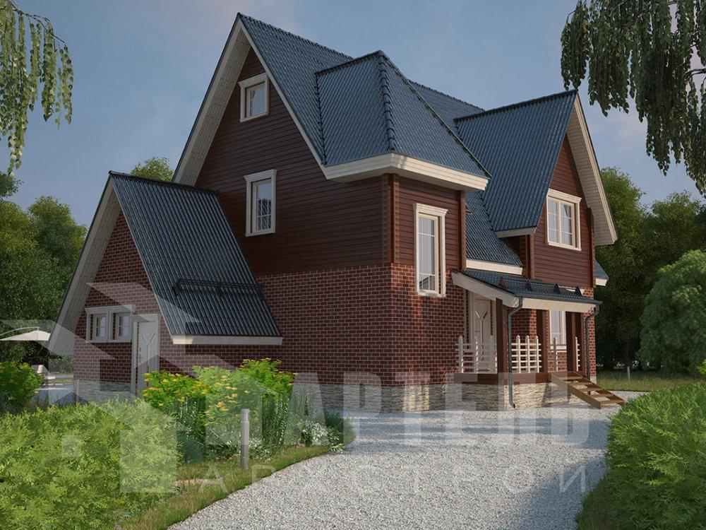 двухэтажный дом из профилированного бруса площадью свыше 200 кв. м. с  гаражом, мансардой, террасой, проект Вариант 10.2 А фотография 4370