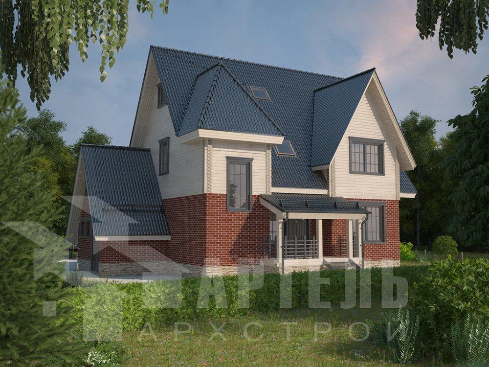 двухэтажный дом из профилированного бруса площадью свыше 200 кв. м. с  гаражом, мансардой, террасой, проект Вариант 10.2 А фотография 4371