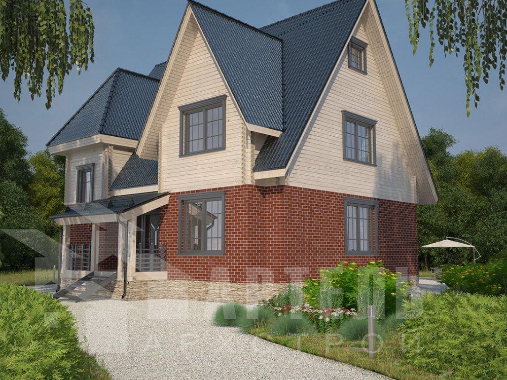 двухэтажный дом из профилированного бруса площадью свыше 200 кв. м. с  гаражом, мансардой, террасой, проект Вариант 10.2 А фотография 4373