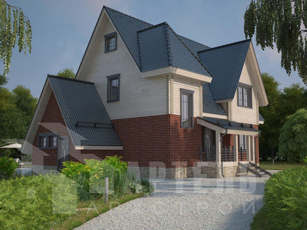 двухэтажный дом из профилированного бруса площадью свыше 200 кв. м. с  гаражом, мансардой, террасой, проект Вариант 10.2 А фотография 4376