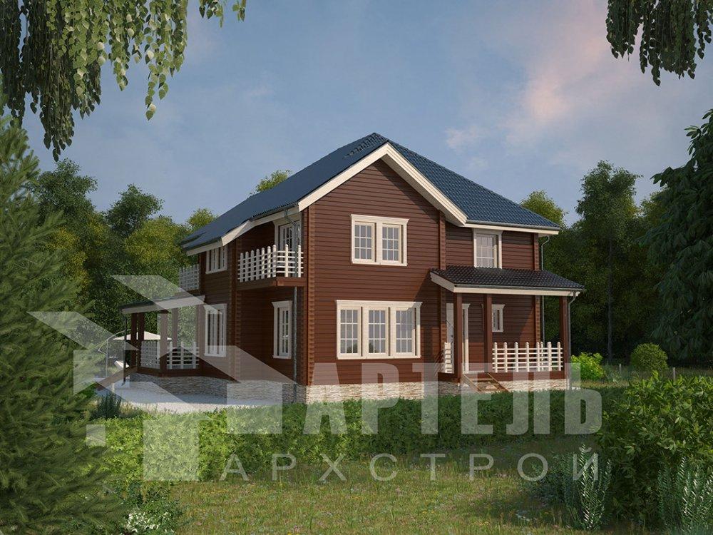 двухэтажный дом из профилированного бруса площадью свыше 200 кв. м. с  балконом, мансардой, террасой, эркером, проект Вариант 10.5 А фотография 4403