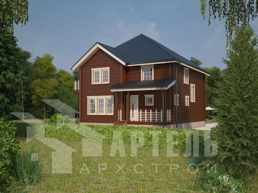двухэтажный дом из профилированного бруса площадью свыше 200 кв. м. с  балконом, мансардой, террасой, эркером, проект Вариант 10.5 А фотография 4404