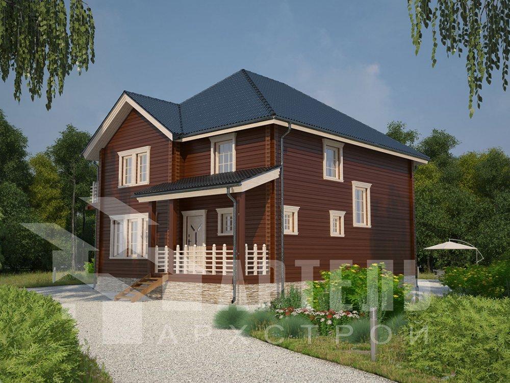двухэтажный дом из профилированного бруса площадью свыше 200 кв. м. с  балконом, мансардой, террасой, эркером, проект Вариант 10.5 А фотография 4405